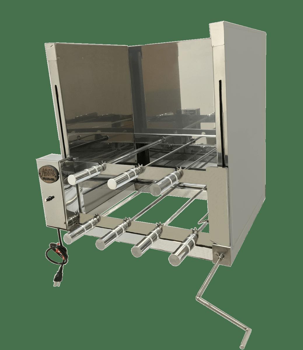 Churrasqueira com sistema rotativo de espetos  e sistema de elevação