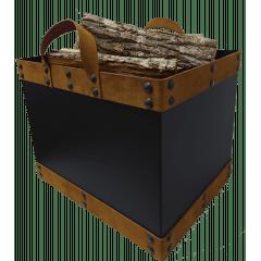 Caixa de lenha com alças de couro