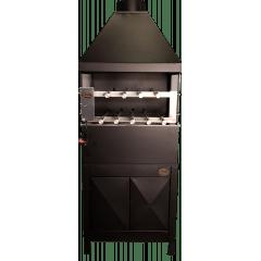 Churrasqueira com coifa, sistema rotativo de 9 espetos e suporte com portas