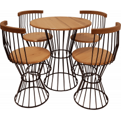 Mesa e cadeiras raiadas